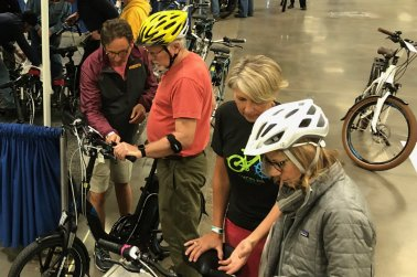 Testing e-bikes on indoor tracks, images from the 2019 edition